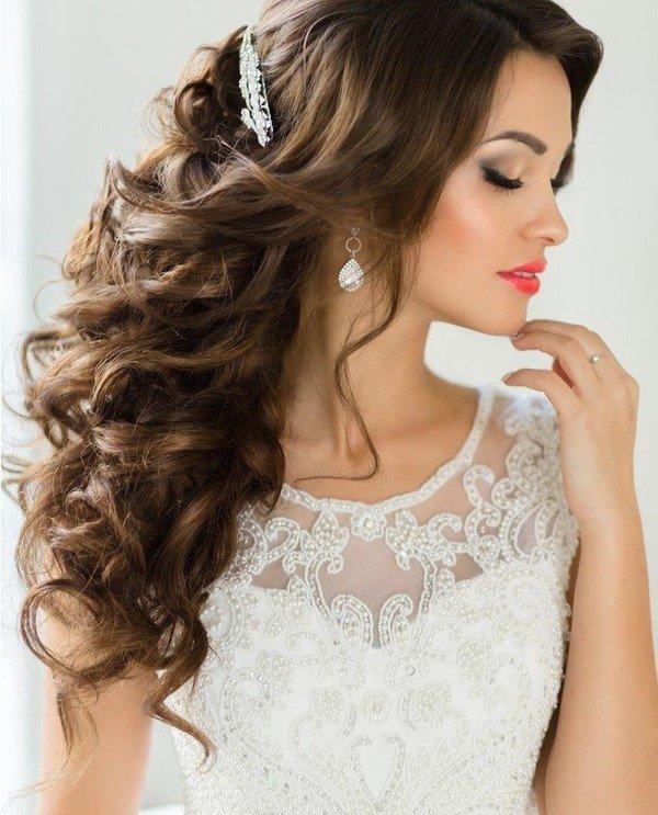 Свадебные прически на длинные волосы с чёлкой 2017-2018