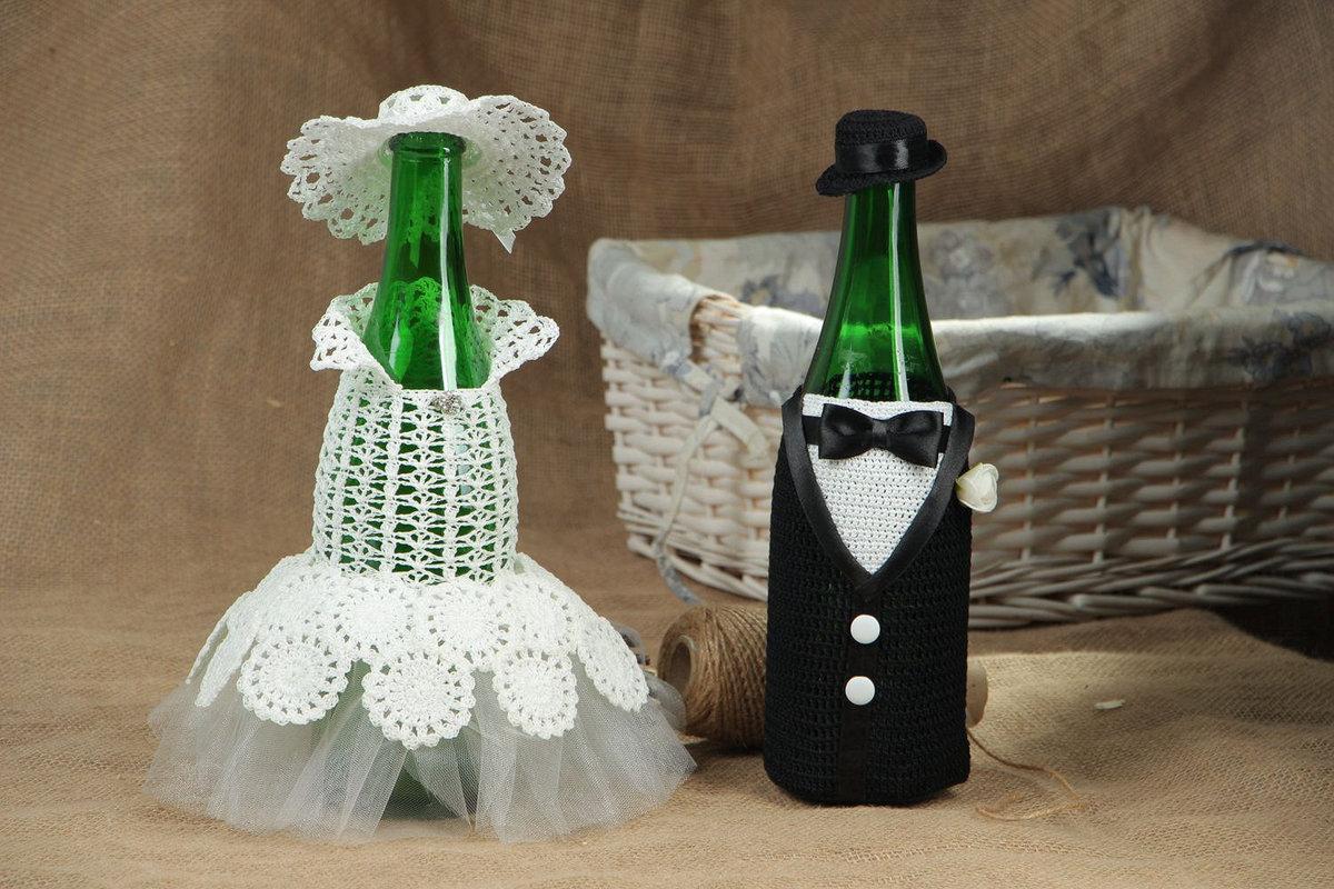 Шампанское жених и невеста на свадьбу своими руками (мастер) 4