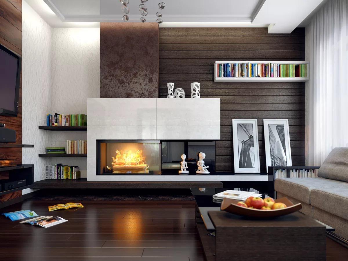 Электрокамин в дизайне гостинной