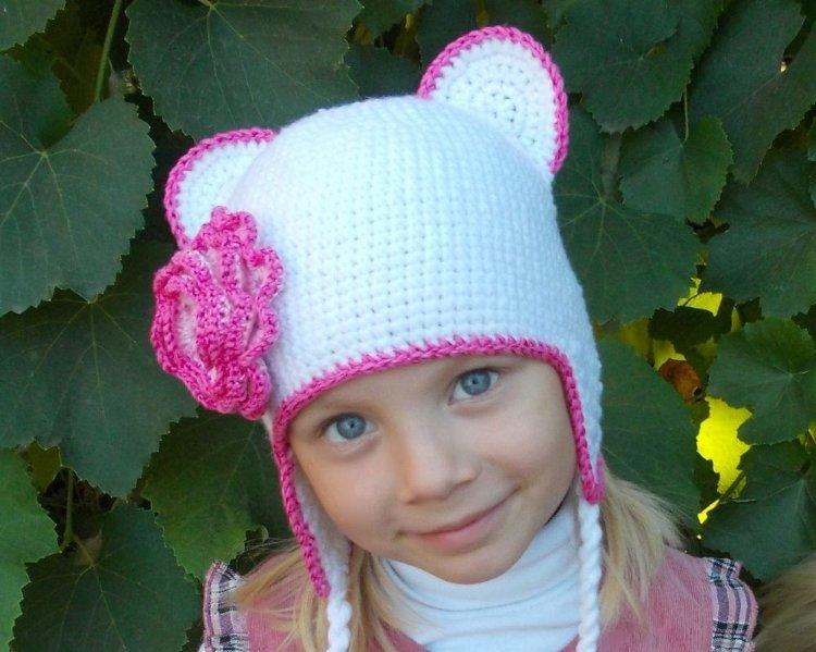 Детские шапки спицами для девочек фото