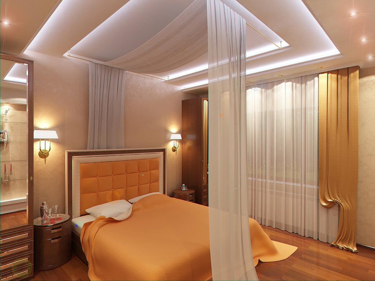 Потолок из гипсокартона фото спальня интерьер своими руками