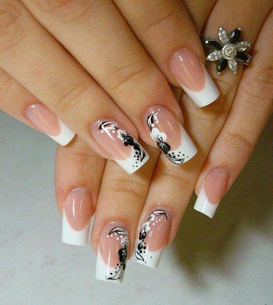 Рисунки на ногтях белый френч