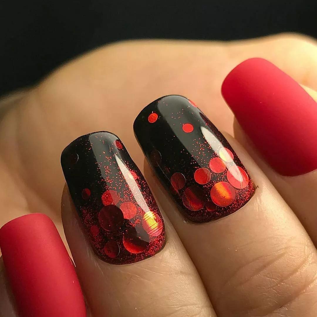 Дизайн ногтей красно черный цвет