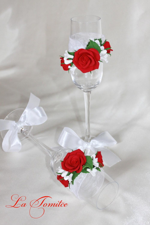 Бокалы с розами своими руками