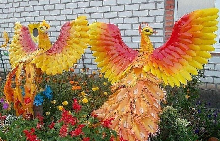 Поделки из пластиковых бутылок для сада своими руками птицы