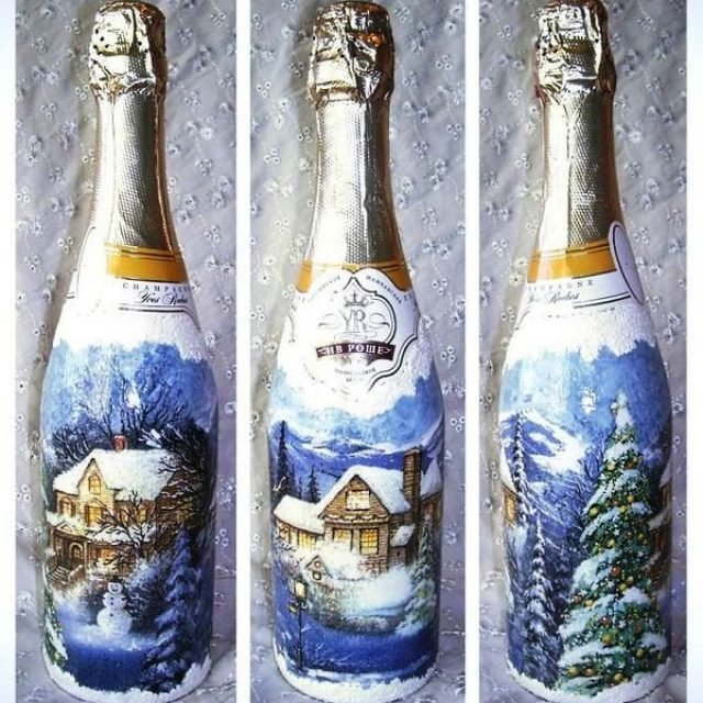 Шампанское декупаж к новому году