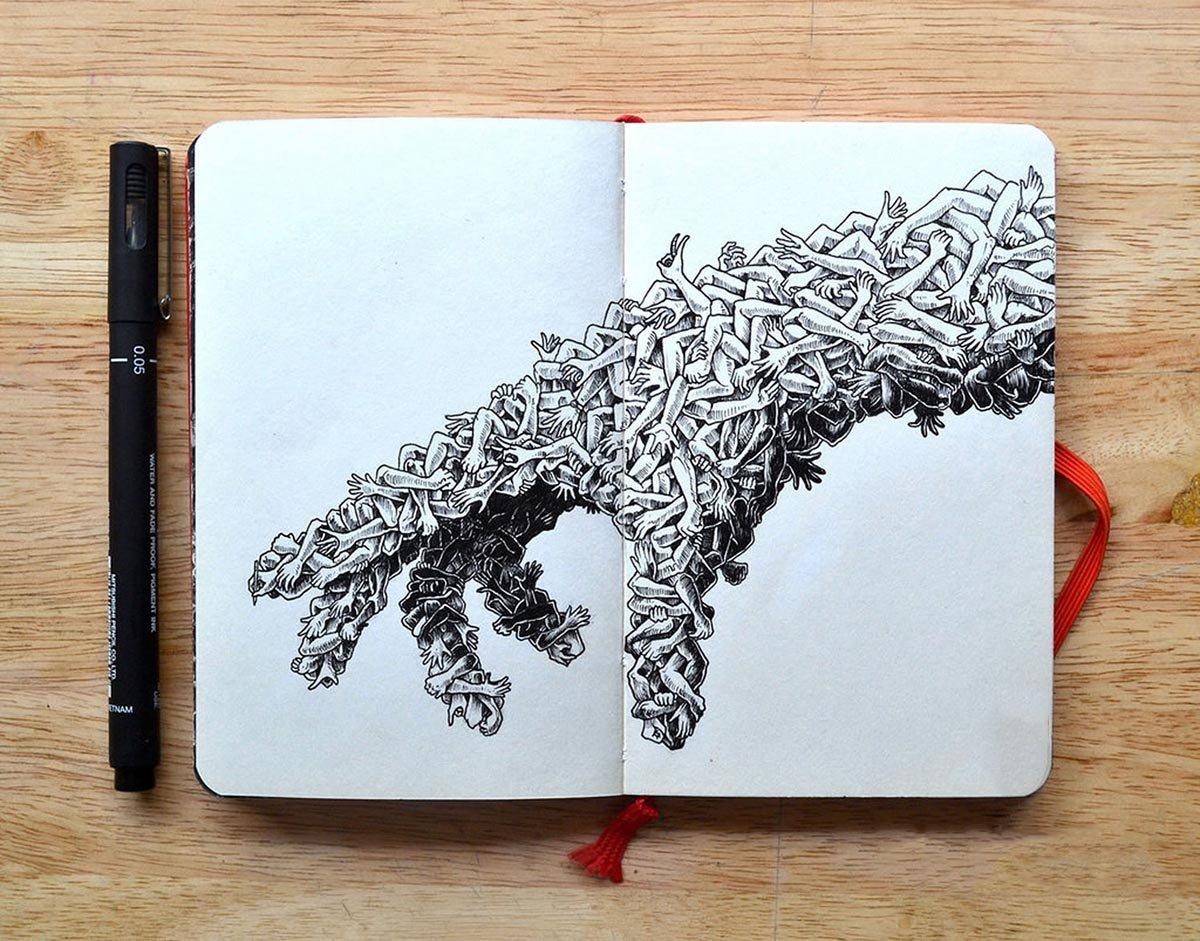 Рисунок в скетчбуке ручкой 185