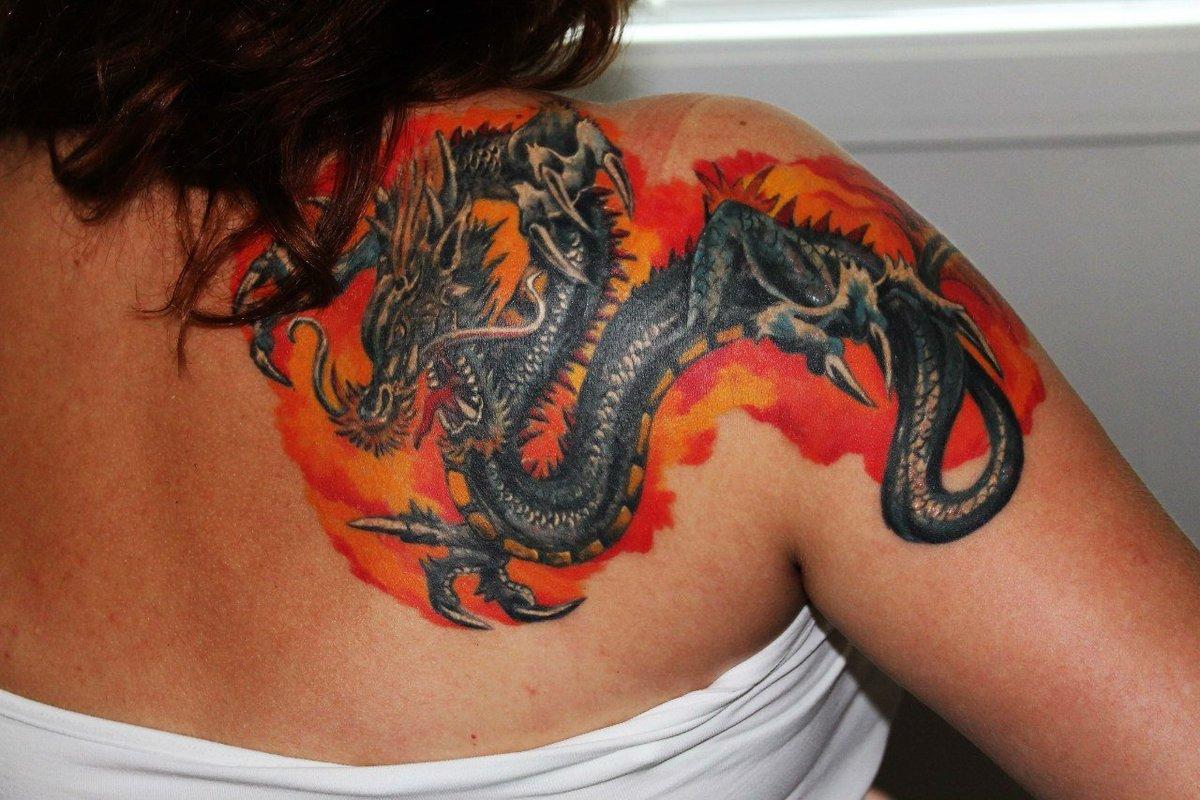 Татуировки дракона фото для девушками