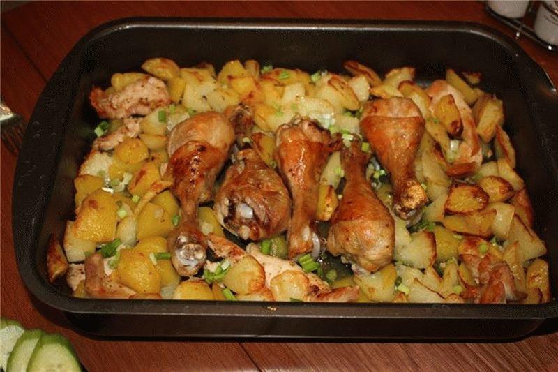 Картофель с мясом курицы в духовке рецепт пошагово
