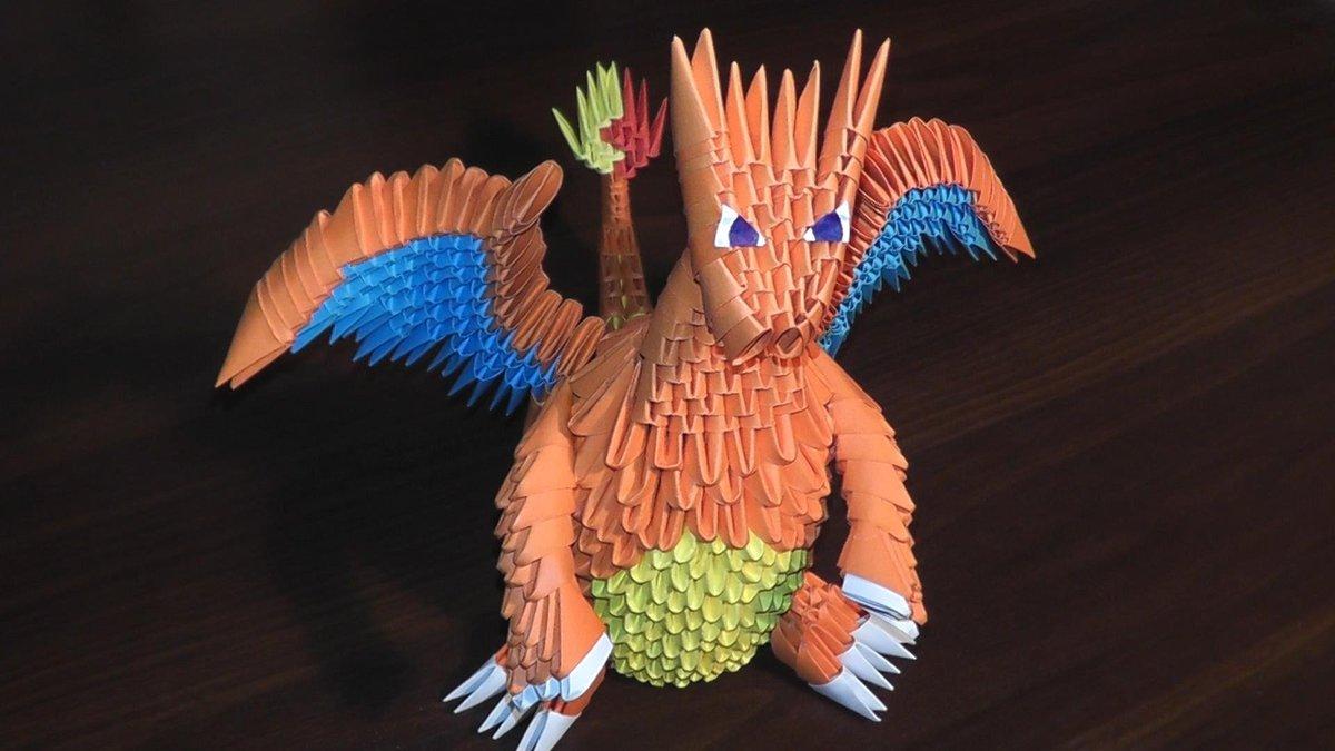 Модульное оригами схемы сборки лебедя с расправленными крыльями