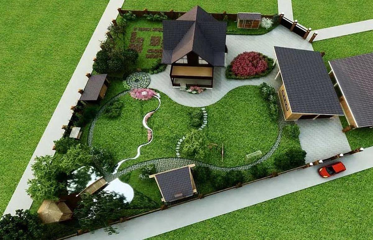 Ландшафтный дизайн частного дома 6 соток