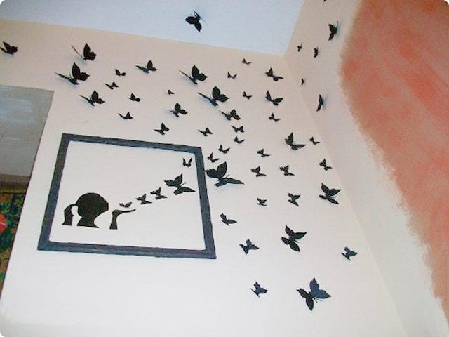 Идеи как украсить стену бабочками бумажными