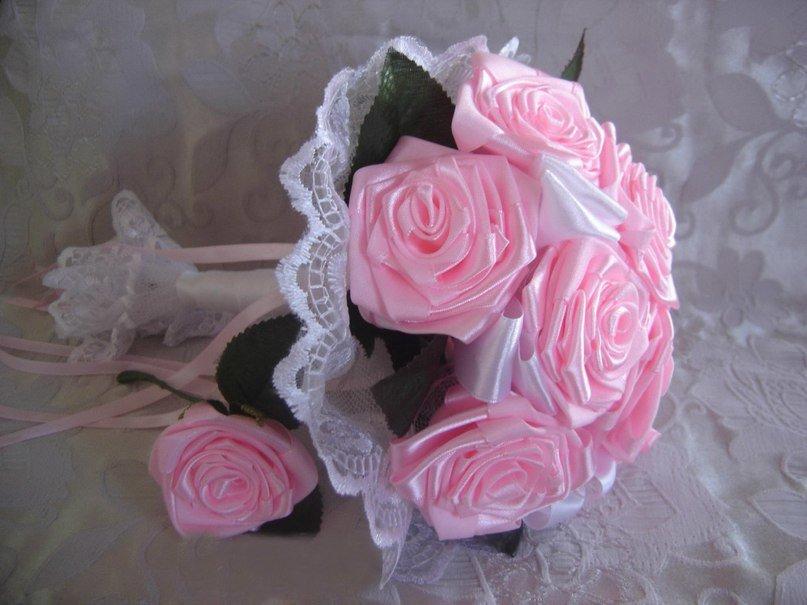 Букет невест из атласных лент своими руками 293