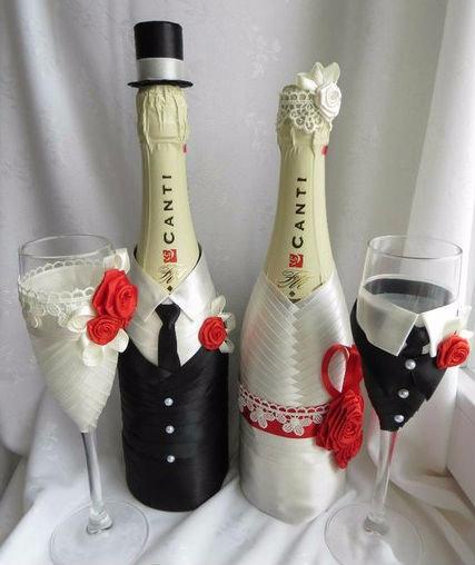 Свадебный декор бокалов своими руками мастер класс 53