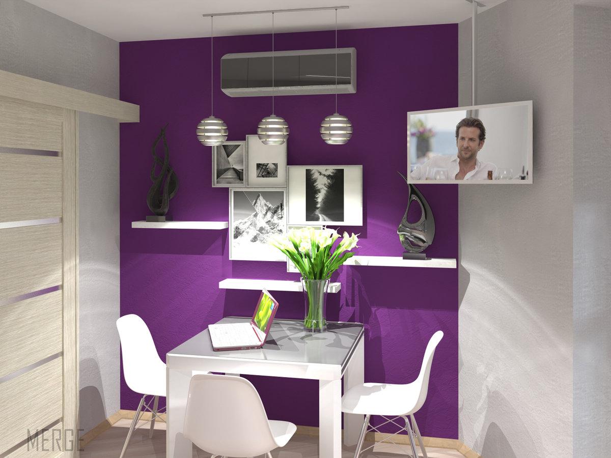 Кухня фиолетовая белая  № 1839200 без смс