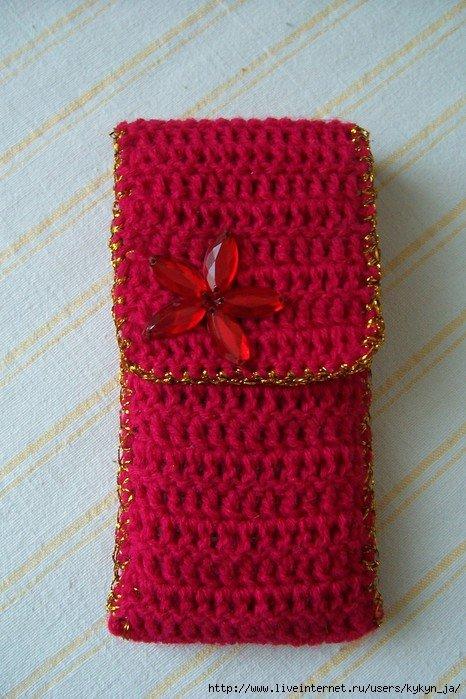 Вязание крючком чехол для мобильного телефона