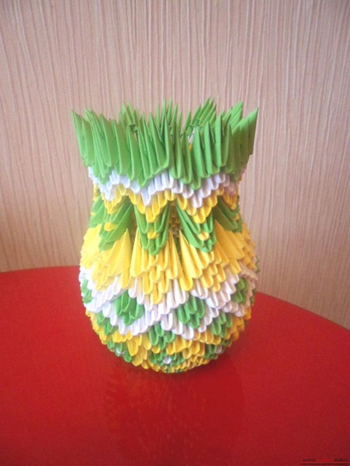 Как сделать из оригами вазу фото инструкция