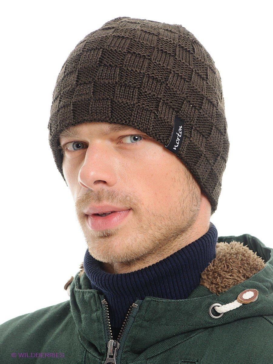Мужские вязанные спицами шапки на зиму