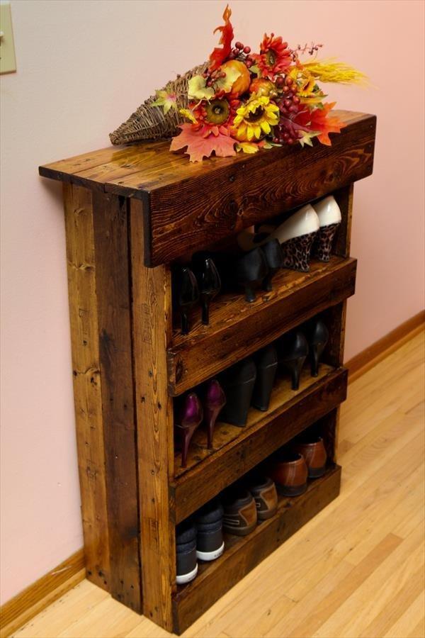 Полка для обуви своими руками из поддонов фото