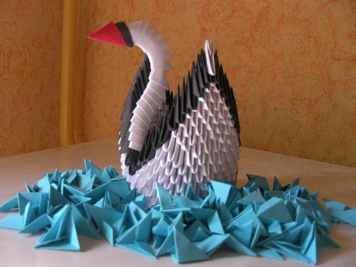 Лебедь из модулей оригами схема с пошаговым фото