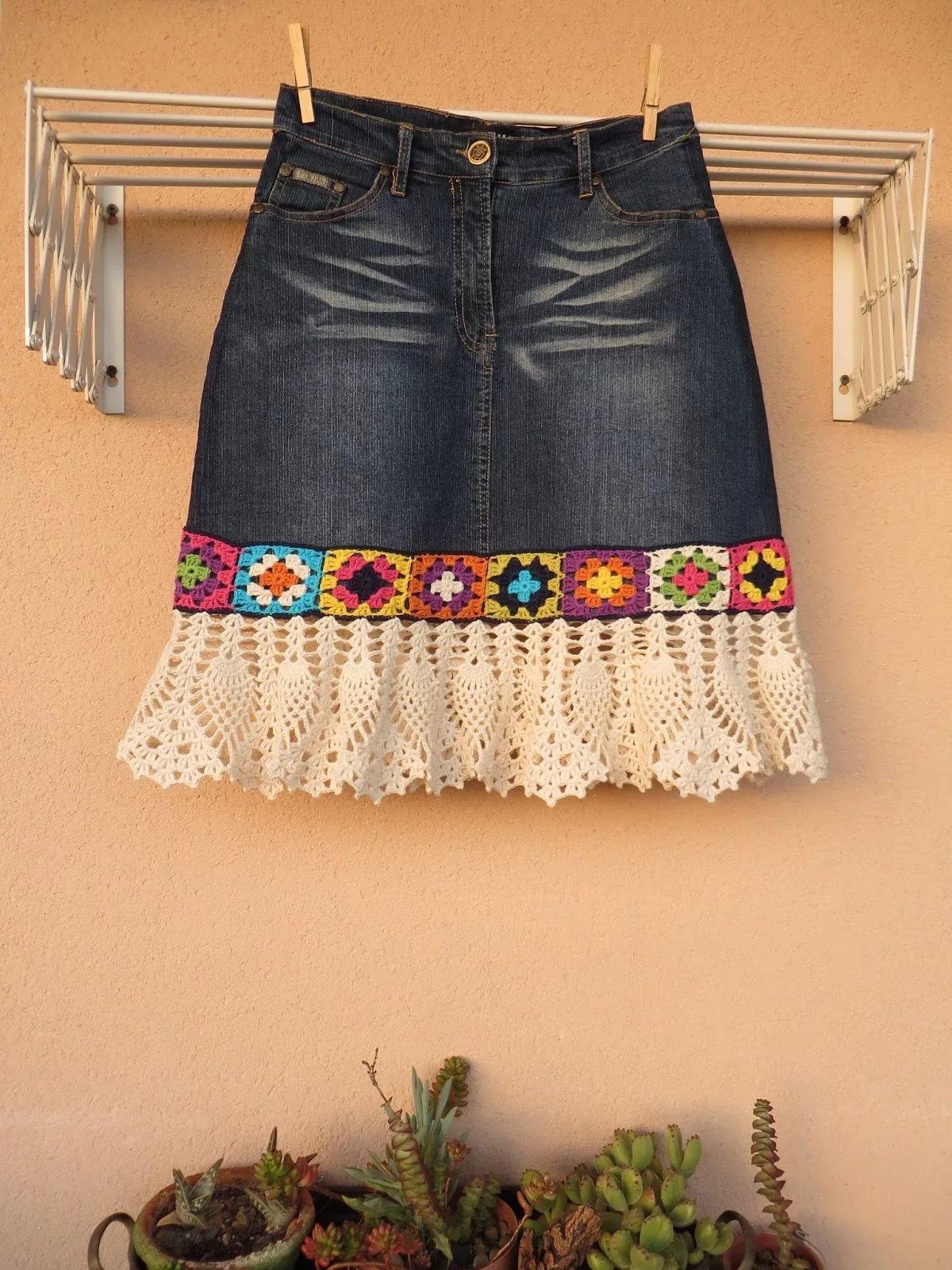 Юбочка старые джинсы вязание крючком