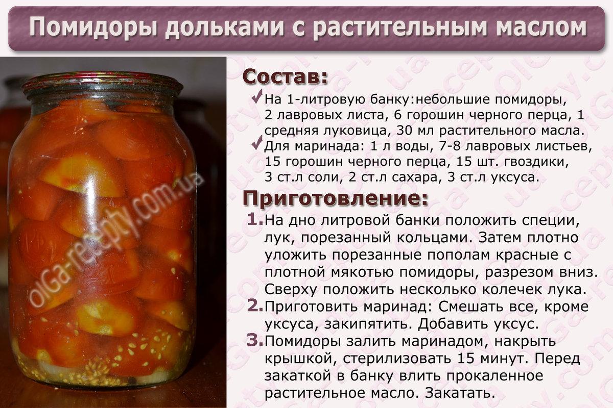 Рецепт помидор на зиму с подсолнечным маслом