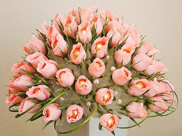 Букет цветов из конфет своими руками фото