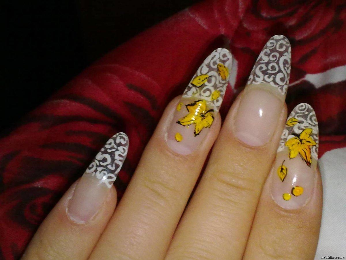 Красивые рисунки на ногтях фото френч осень