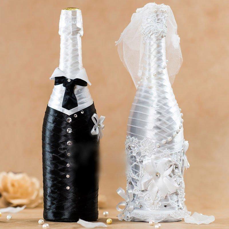 Как красиво украсить бутылку на свадьбу своими руками 74