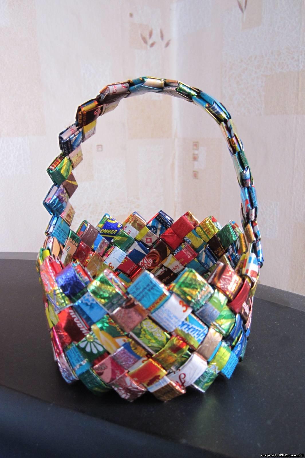 Как сделать своими руками корзину из конфет своими руками фото в деталях
