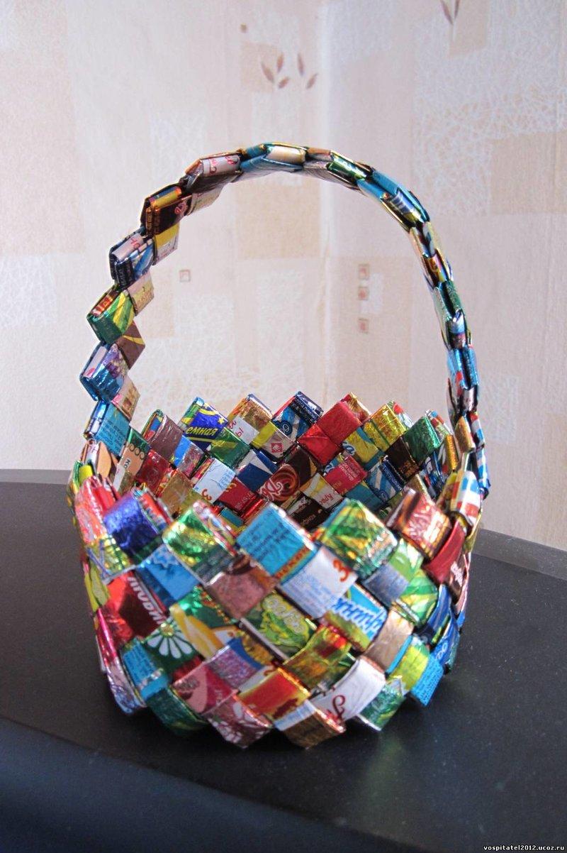 Корзинки из конфетных фантиков своими руками