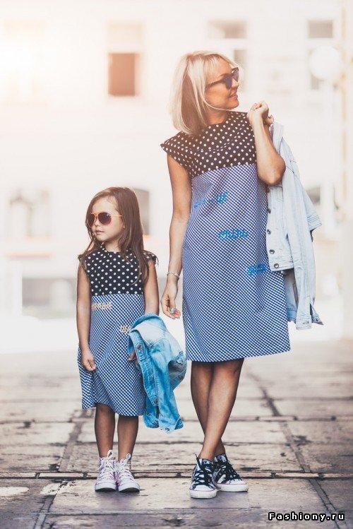 Платье для мамы и дочки в одном стиле сшить 34