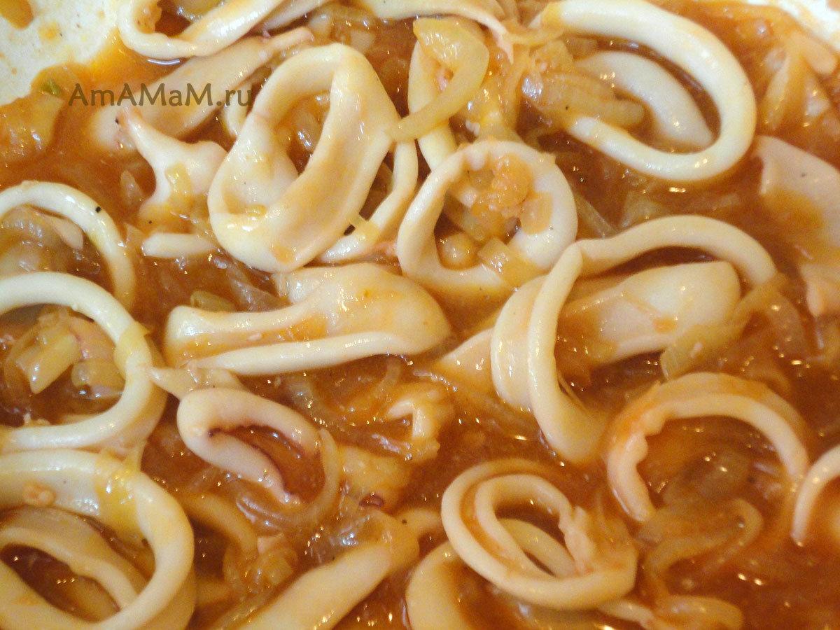 Рецепты из замороженных кальмаров пошагово с