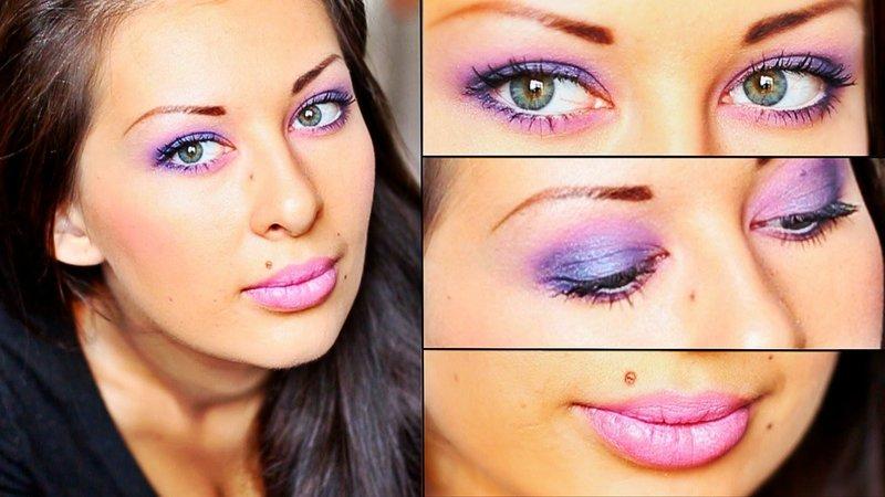 Макияж в фиолетовых тонах для карих глаз
