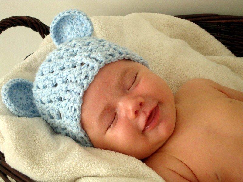 Вязание шапочки новорожденному мальчику
