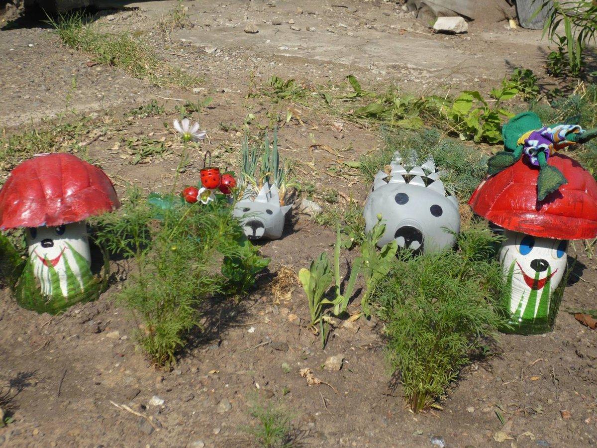 Поделка из пластиковых бутылок на участок детского сада своими руками 8