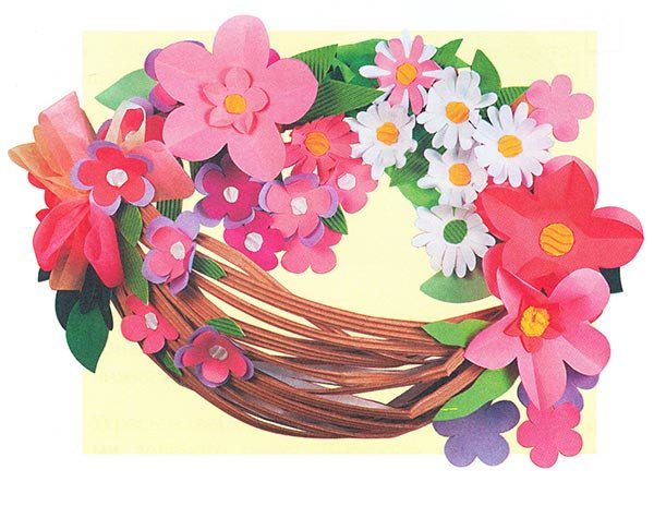 Цветы в корзине своими руками из цветной бумаги