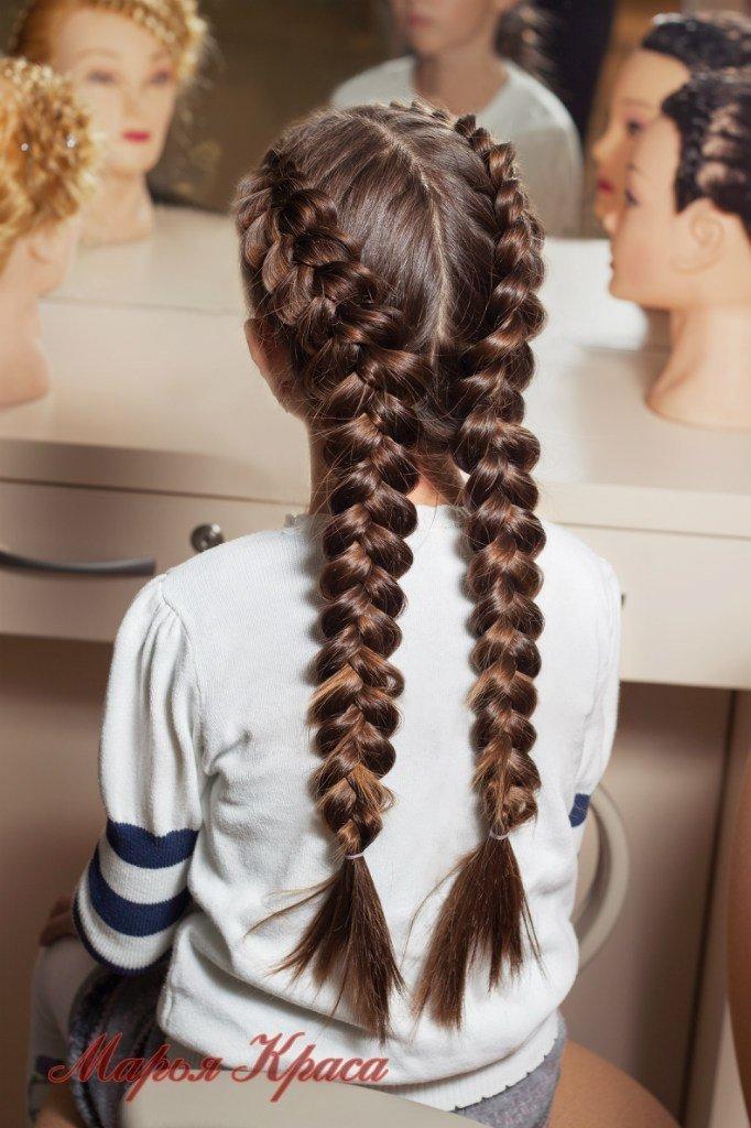 Прически с двумя косами для девочки