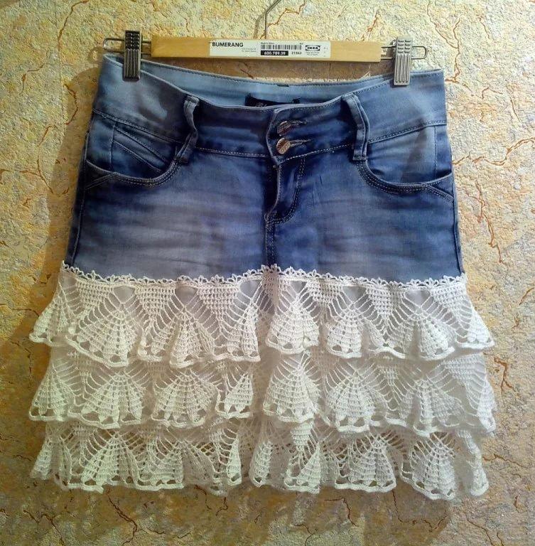 Джинсовая юбка с рюшами своими руками