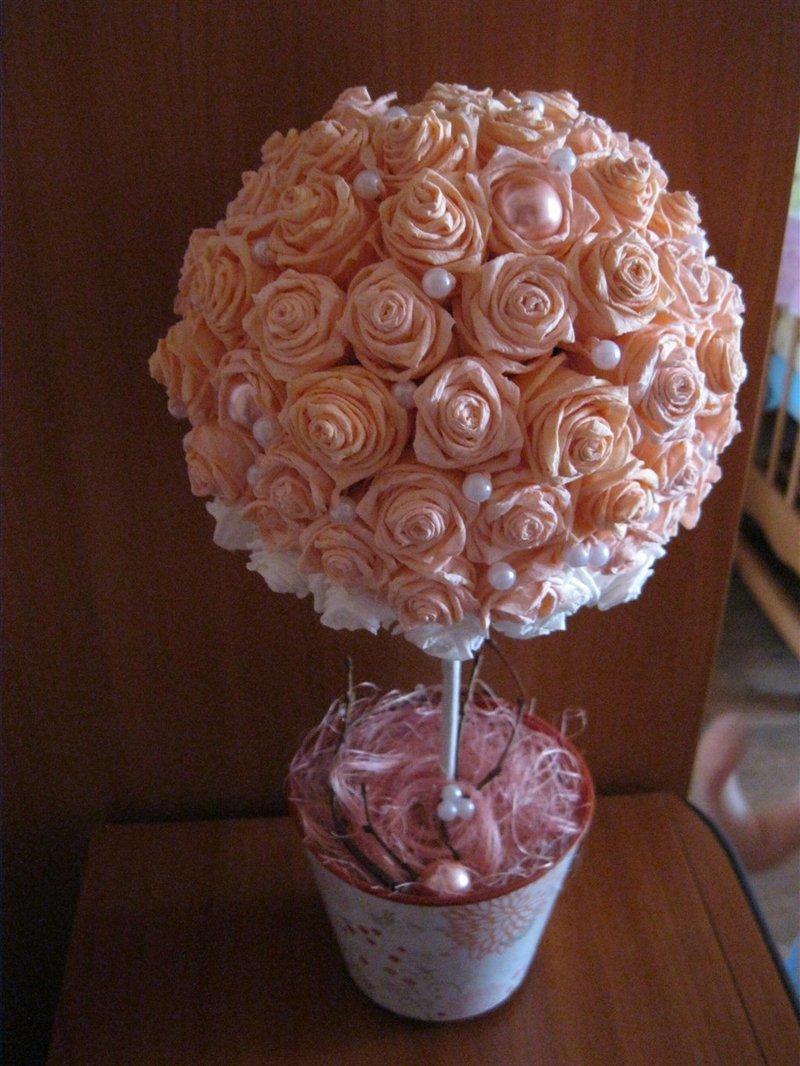Деревце из роз своими руками