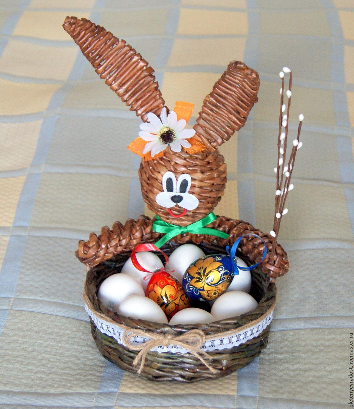 Корзинка для пасхальных яиц своими руками из газетных трубочек