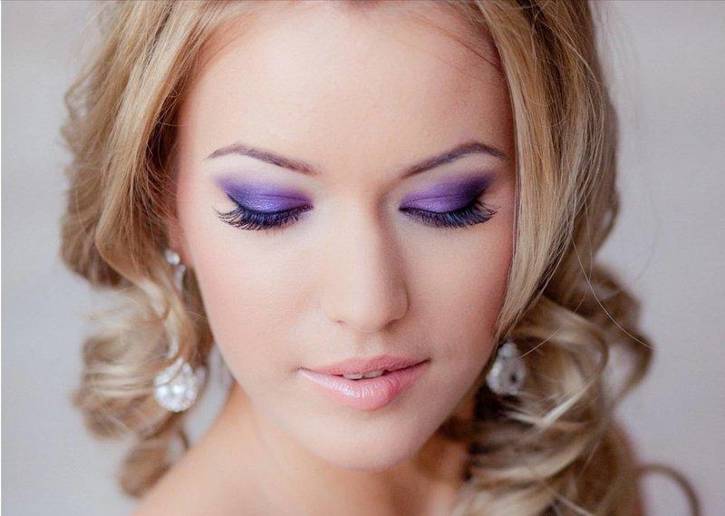 Макияж на свадьбу в фиолетовых тонах