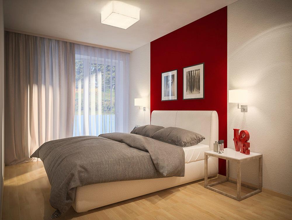 Дизайн стен в спальне с выделенной стеной