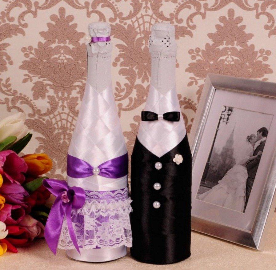 Как сделать оформление бутылок на свадьбу