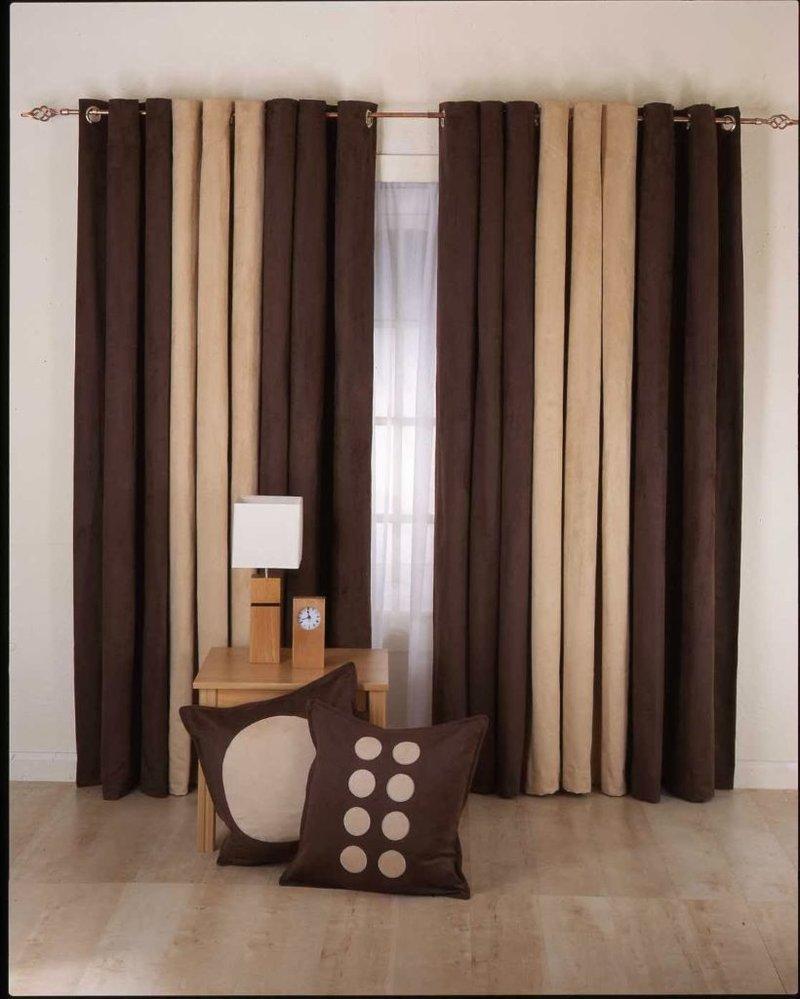 Светло коричневые шторы в интерьере фото