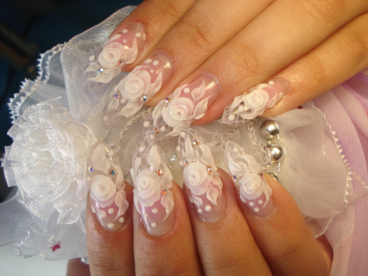 Свадебное наращивание ногтей фото 2018