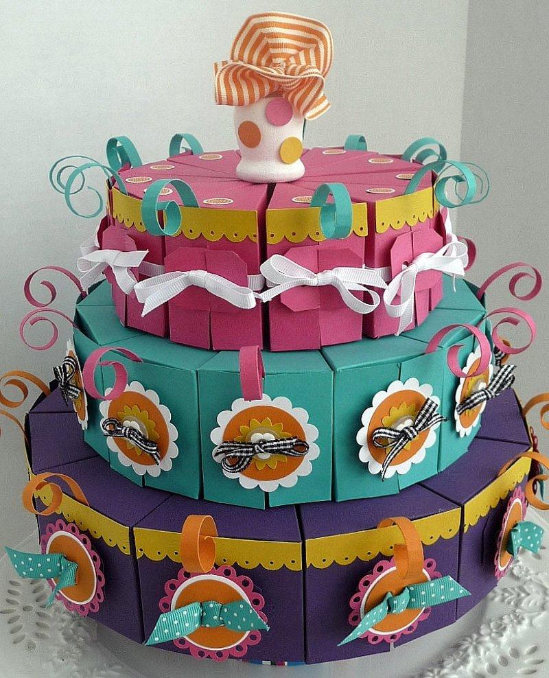 Торт из бумаги с подарками 77