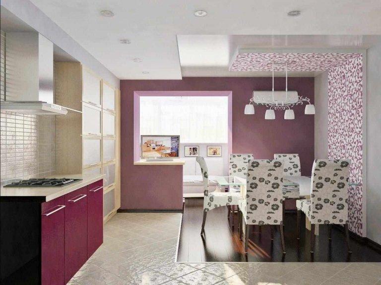 Кухня фиолетовая белая  № 1839212 без смс