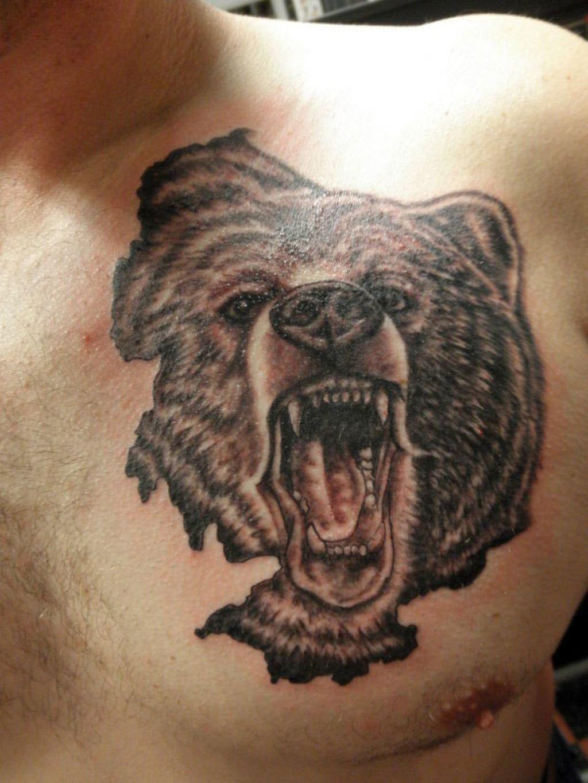 Тату медведь с оскалом фото