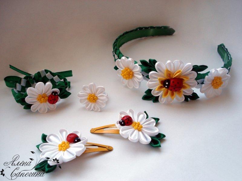 Резинки своими руками в стиле канзаши 34